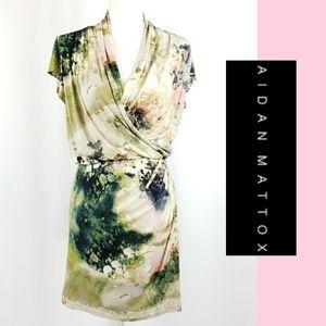 Aidan Mattox Watercolor Faux Wrap Dress Size 6